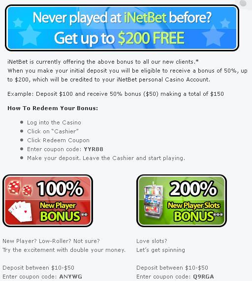 Usa No Deposit Bonus Casino Inetbet Casino Review No Deposit